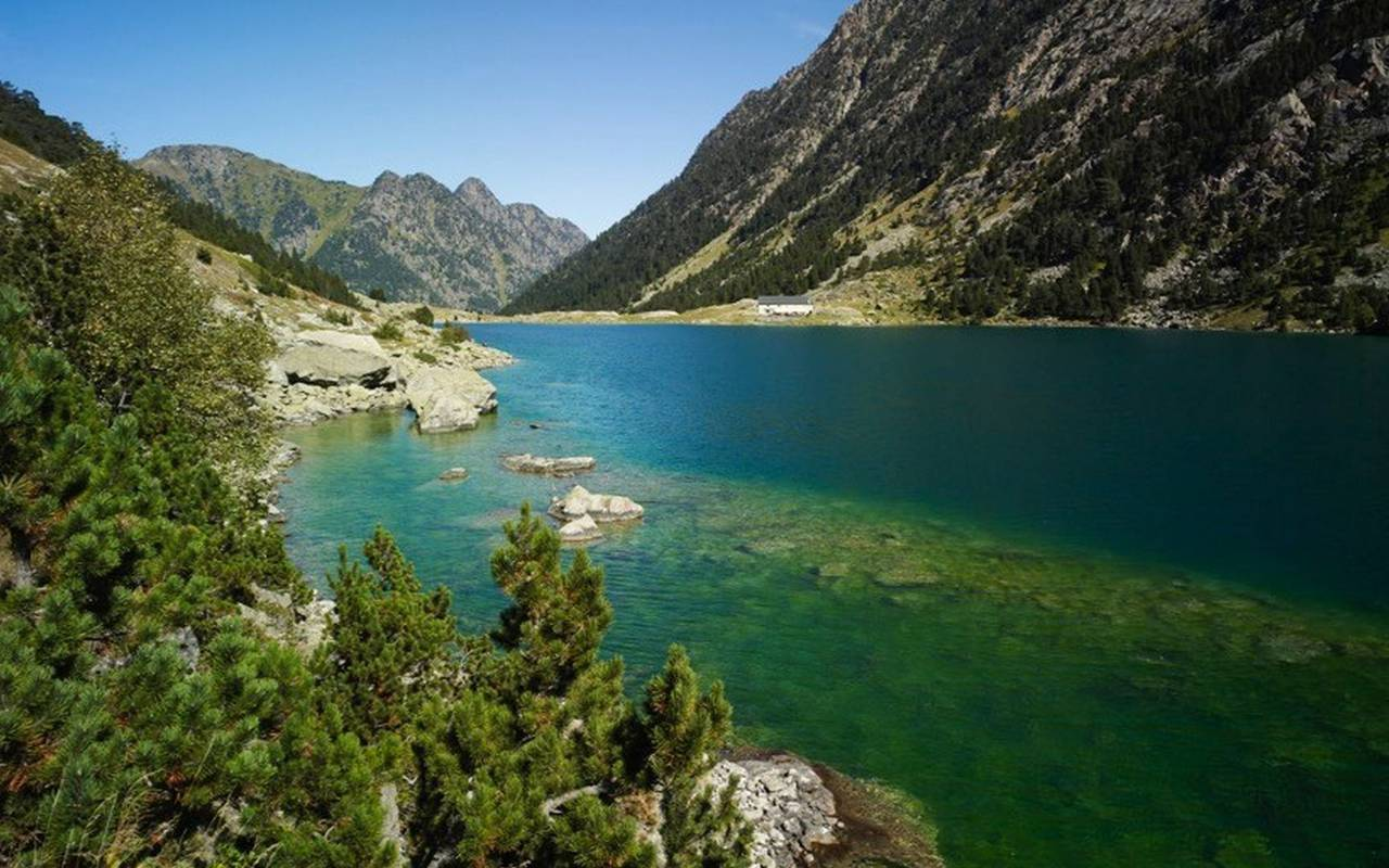 Lake in the mountains, trip to lourdes, hotel Sainte-Rose