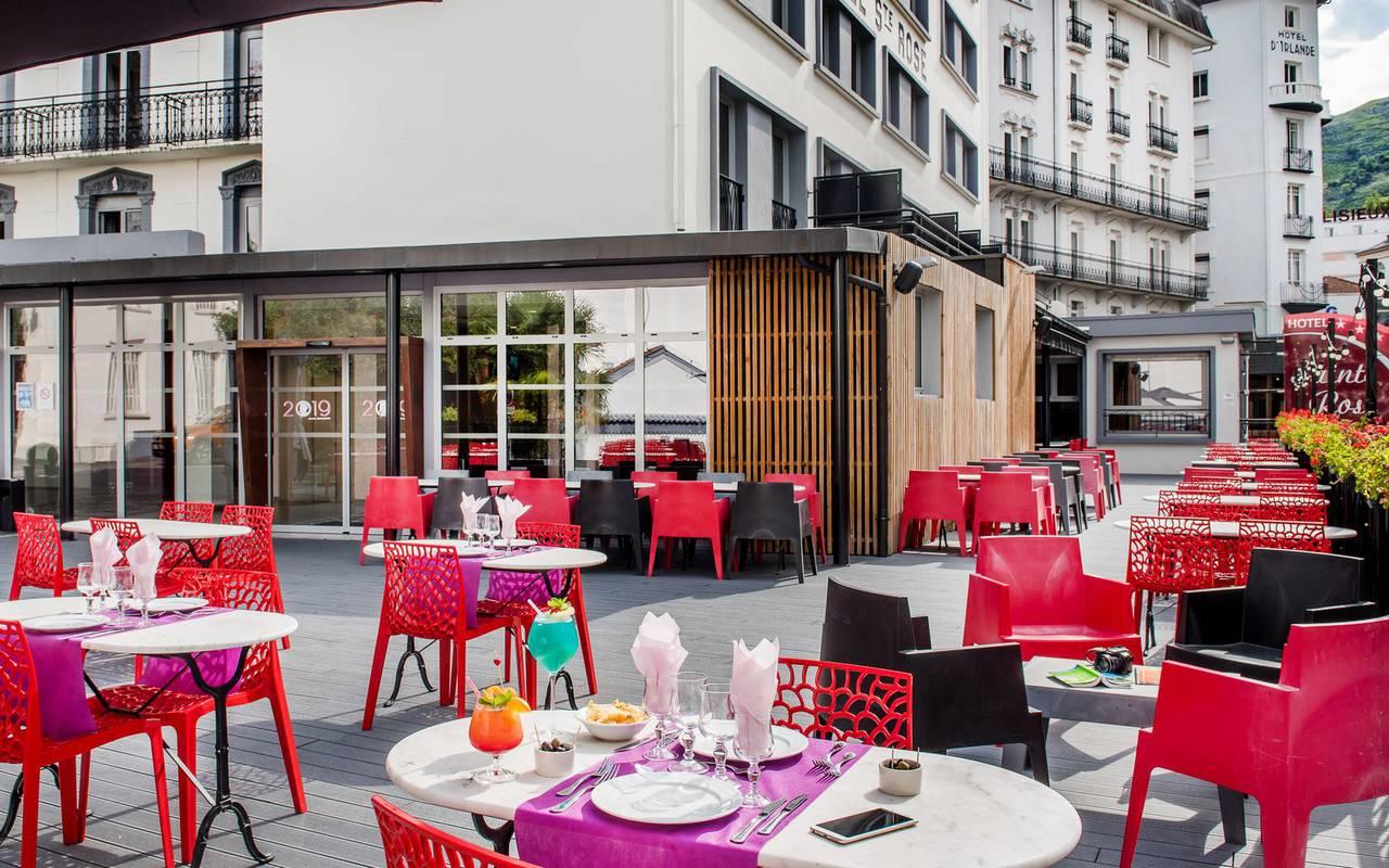 Large terrace, restaurant buffet Lourdes, hotel Sainte Rose