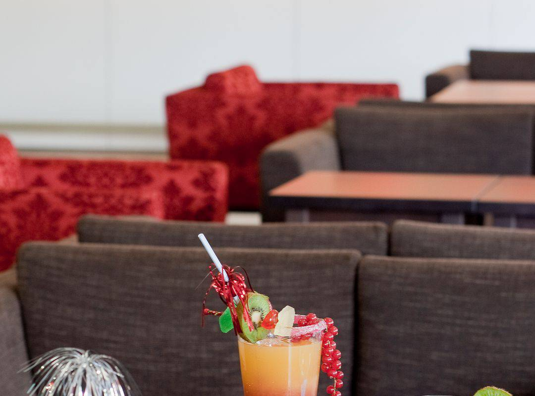 Colorful cocktails, restaurant buffet Lourdes, hotel Sainte Rose