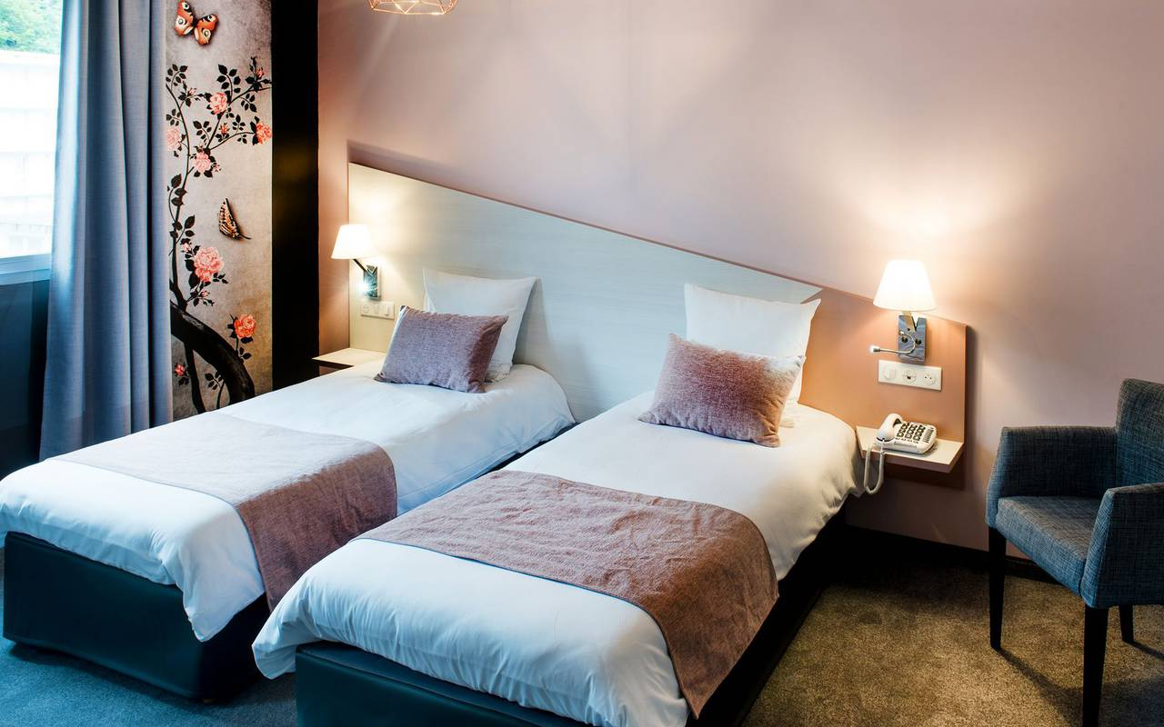 Chambre avec deux lits, hébergement Hautes Pyrénnes, hôtel Sainte-Rose